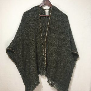 Lucky Brand Olive Green Poncho With Tassels